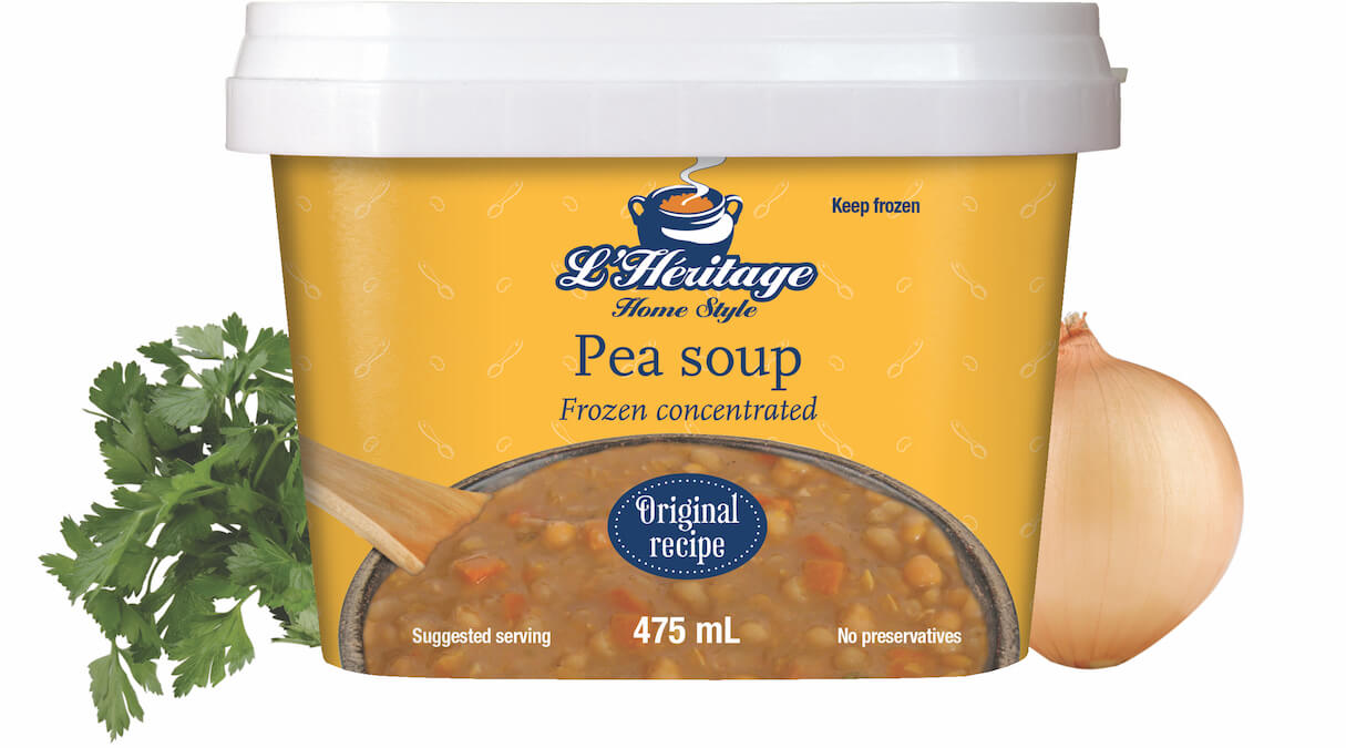 Packaging 475 ml of L'Héritage frozen concentrated pea soup