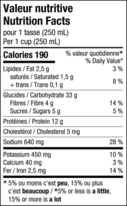 Nutrition facts chart of L'Héritage oven-baked pea soup